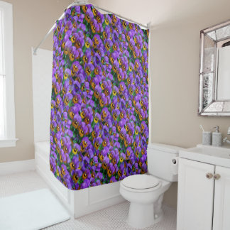 Purple Pansy Theme Shower Curtain
