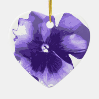 Purple Pansy Watercolour Flower Ceramic Ornament
