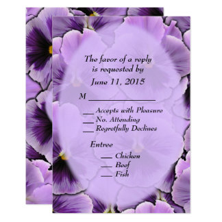 Purple Pansy with Entree Choices  RSVP Card