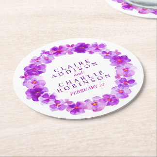 Purple pansy wreath flowers coasters