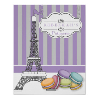 Purple Paris Macarons Eiffel Tower Monogram Poster
