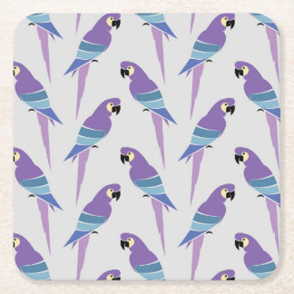 Purple Parrots Square Paper Coaster