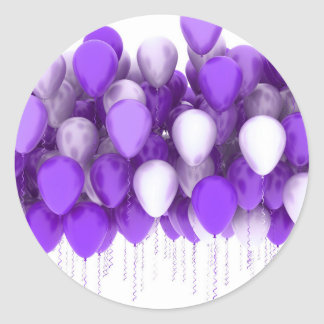 Purple Party Balloons Stickers and Envelope Seals