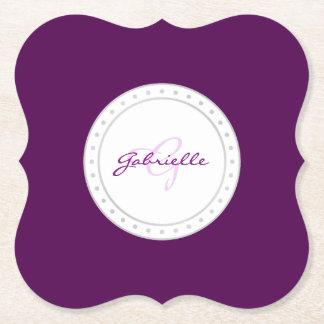 Purple Party | Name Violet Plum White Script | Paper Coaster