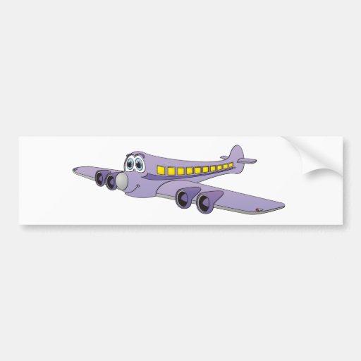 Purple Passenger Jet Cartoon Bumper Stickers