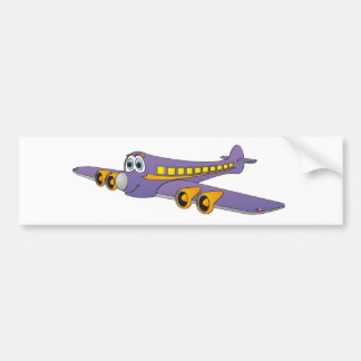Purple Passenger Jet Cartoon Bumper Sticker