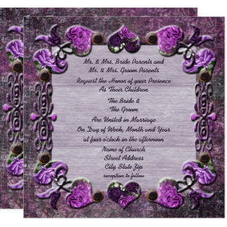 Purple Passion Floral Wedding Invitation