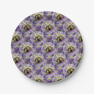 Purple Passion Flower Close Up Paper Plate