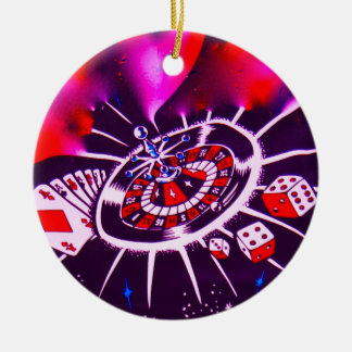 Purple Passion Gambling Ceramic Ornament