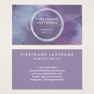 Purple Pastels Watercolor Salon and Makeup Artist Business Card