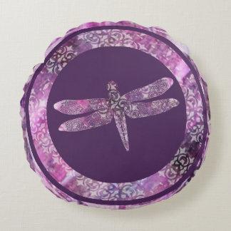 Purple Patina: Dragonfly Round Cushion