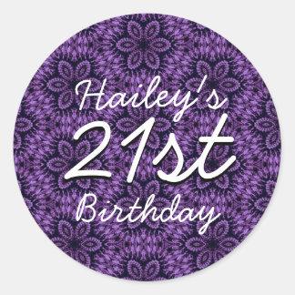 Purple Pattern 21st Birthday Custom Name V205 Round Sticker