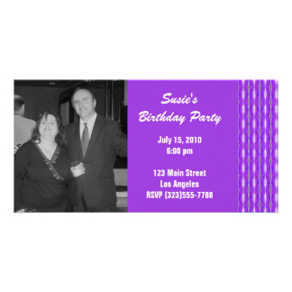 purple pattern party photo greeting card