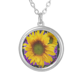 Purple Patterned Yellow Sunflower Gifts Silver Plated Necklace