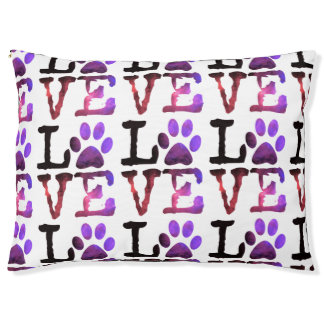 Purple Paw Love Dog Bed