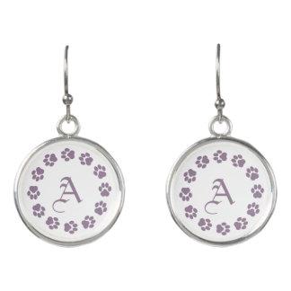 Purple Paw Print Drop Earrings with Monogram