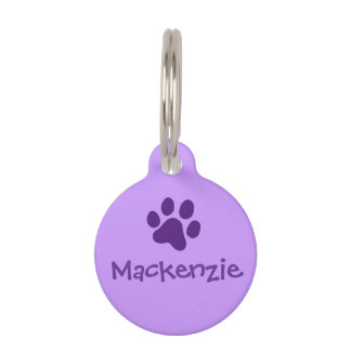 Purple Paw Print Pet ID Tag