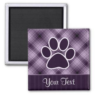 Purple Paw Print Square Magnet