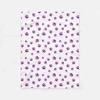 Purple Paw Prints Pattern Fleece Blanket