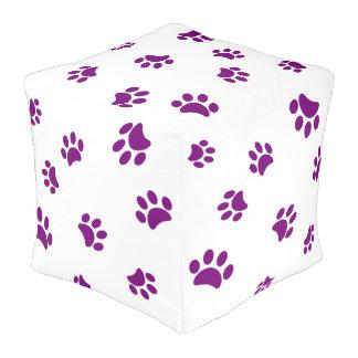 Purple Paw Prints Pattern Pouf