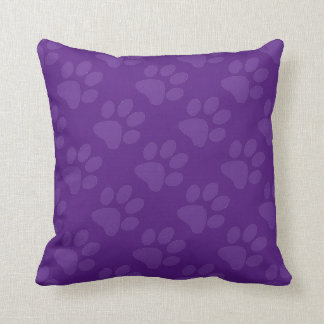 Purple Paw Prints Throw Pillow