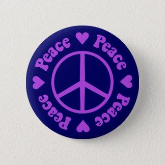 Purple Peace & Love Button