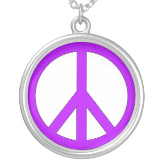 purple peace sign round pendant necklace