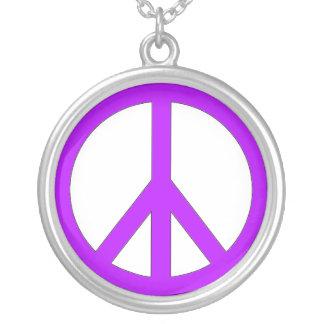purple peace sign round pendant necklace