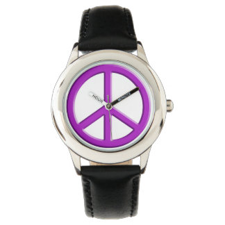 Purple Peace Sign Wristwatches