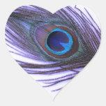 Purple Peacock Feather Heart Sticker