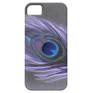 Purple Peacock Feather on Black iPhone 5 Covers