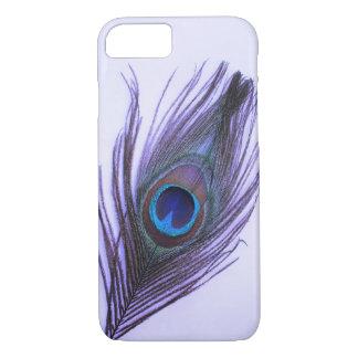 Purple Peacock Feather on Purple iPhone 7 Case