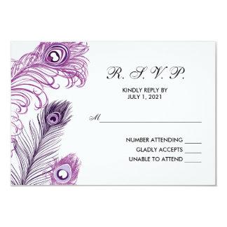 Purple Peacock Feathers RSVP wedding reply card 9 Cm X 13 Cm Invitation Card