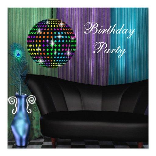 Purple Peacock Mirror Ball Disco Birthday Party Personalized Invitation