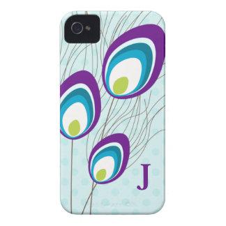 Purple Peacock Monogram Blackberry Case