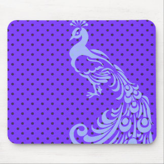 PURPLE-PEACOCK-POLKA-DOT-MOUSEPAD MOUSE PAD