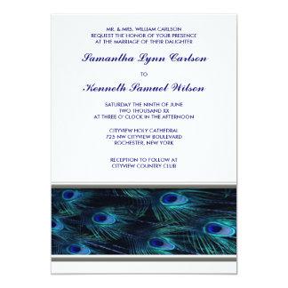 Purple Peacock Silver Trim Wedding Invitation
