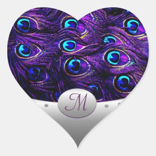 Purple Peacock Wedding Invitation Envelope Seals Heart Stickers