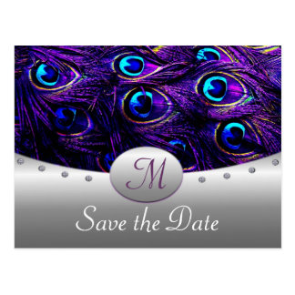 Purple Peacock Wedding Save the Date Cards