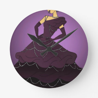 Purple Pearl Dress Round Clock