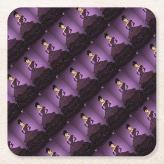 Purple Pearl Dress Square Paper Coaster