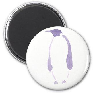 Purple Penguin 6 Cm Round Magnet
