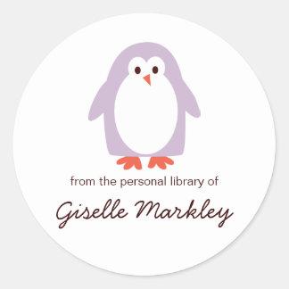 Purple Penguin Bookplates Classic Round Sticker