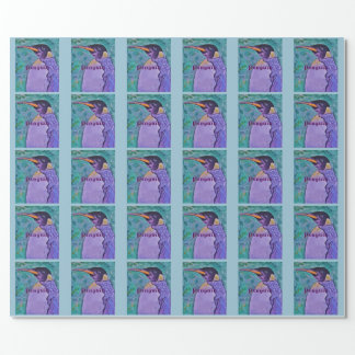 Purple Penguin Wrapping Paper