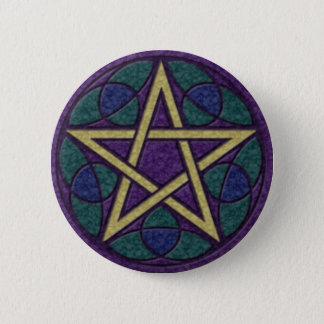 Purple Pentacle Triquetra 6 Cm Round Badge