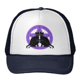 purple pentagram black cats protection wicca pagan cap