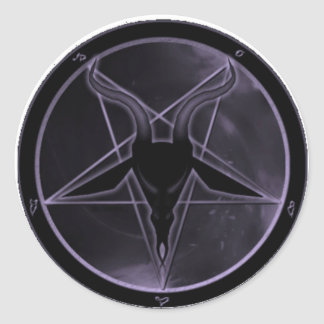 Purple Pentagram Classic Round Sticker