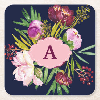 Purple Peonies Watercolor Flowers Monogram Square Paper Coaster