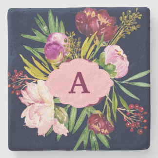 Purple Peonies Watercolor Flowers Monogram Stone Coaster