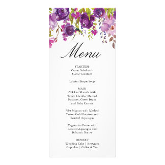 Purple Peonies Wedding Menu Card